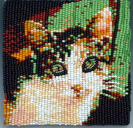 Robin's cat, bead embroidery by Virginia Brubaker