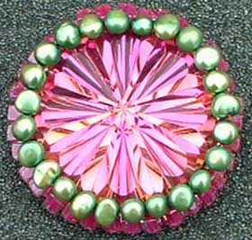 Beaded Cabochon Brooch