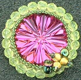 Beadwork beaded cabochon brooch