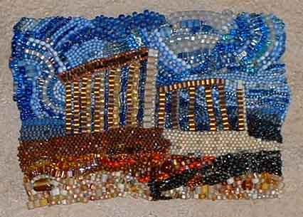 Temple of Poseidon at Sounion- bead art in brick stitch by Virginia Brubaker