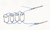 Diagram of 2-Needle Ladder for Brick Stitch