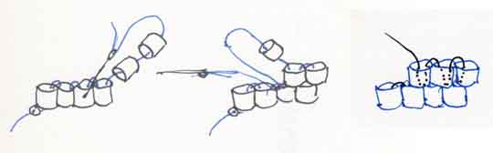 Diagrams of brick stitch