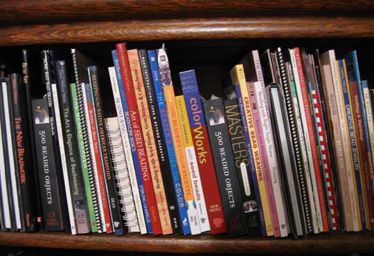 My shelf of beading books.