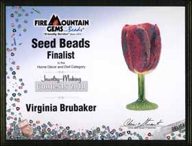 Finalist Certificate from Fire Mountain Gems Contest