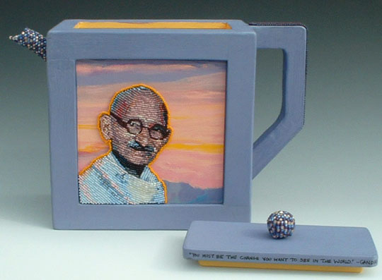 Gandhi and Mandela Teapot by Virginia Brubaker