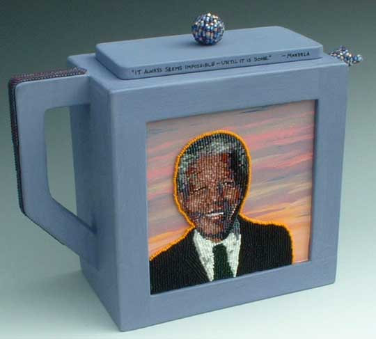 Bead Art Tea Pot with portrait of Nelson Mandela  by Virginia Brubaker