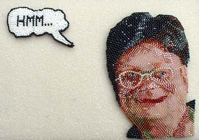 Woman Thinking beadwork by Virginia Brubaker