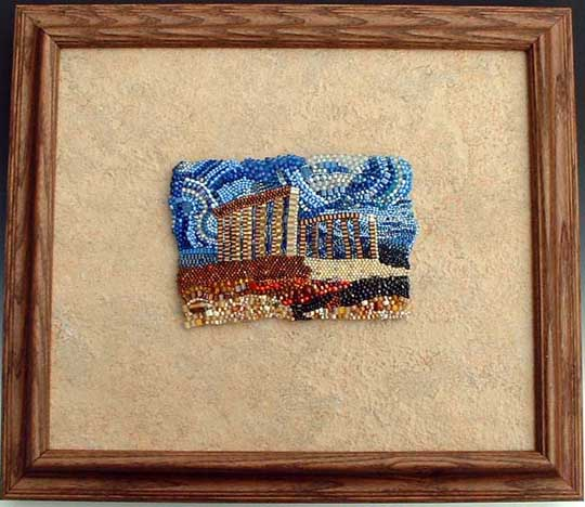 Framed beadwork by Virginia Brubaker