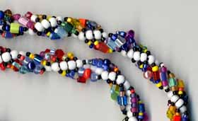 Spiral Rope Necklace in White, Black, and Multi-Colors