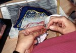 Brick stitch beading for the land portion